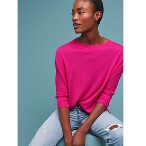 Anthropologie   Wool Boatneck Cropped Sweater